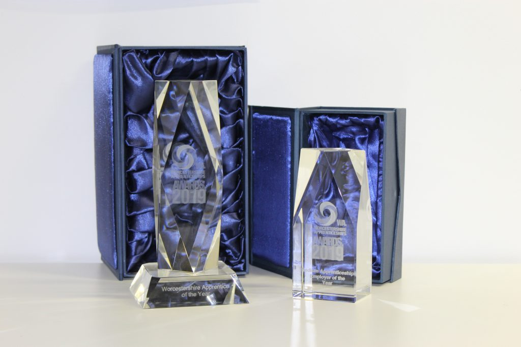 2019 Worcestershire Apprenticeships Awards prestigious glass trophies sponsored by West Midlands Apprenticeships Ambassador Network