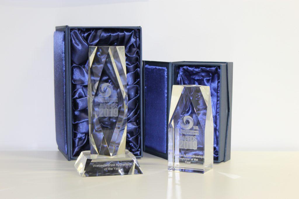 2019 Worcestershire Apprenticeships Awards prestigious glass trophies sponsored by West Midlands Apprenticeships Ambassador Network